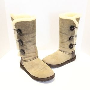 UGG Bailey Button Triplet Bomber Leather Boots